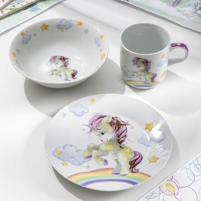 Набор детской посуды Доляна «Единорог», 3 предмета: кружка 250 мл, миска 400 мл, тарелка 18 см