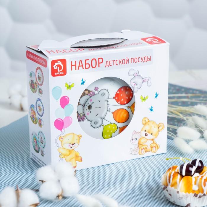 Набор детской посуды Доляна «Коала», 3 предмета: кружка 250 мл, миска 400 мл, тарелка d=18 см - фото 7408062