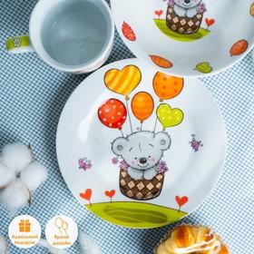 Набор детской посуды Доляна «Коала», 3 предмета: кружка 250 мл, миска 400 мл, тарелка d=18 см - фото 7408064