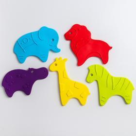 Антискользящие мини-коврики ROXY-KIDS для ванны. Серия SAFARI. Цвета в ассортименте. 5 шт.