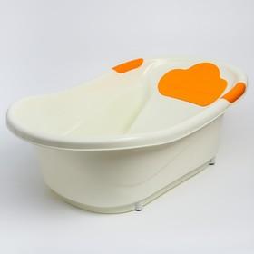 Ванночка ROXY-KIDS с анатомической горкой и сливом. Цвет вставок: оранжевый