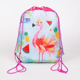 Мешок для обуви, отдел на шнурке, цвет розовый, «Фламинго»