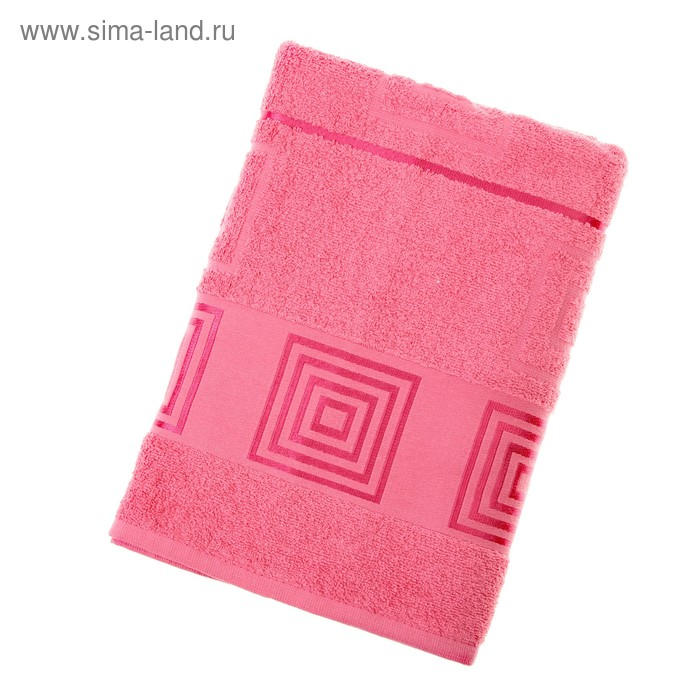 Полотенце махровое Fiesta Cotonn Квадрат, размер 70х140 см, цвет розовый, 500 гр/м2