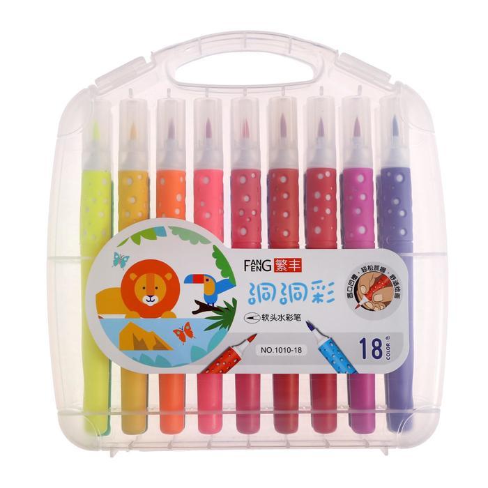 Фломастеры 18 цветов мягкая кисть в пластиковом пенале - фото 7423084
