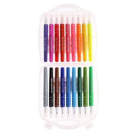 Фломастеры 18 цветов мягкая кисть в пластиковом пенале - фото 7440638
