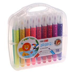 Фломастеры 18 цветов мягкая кисть в пластиковом пенале - фото 7440641