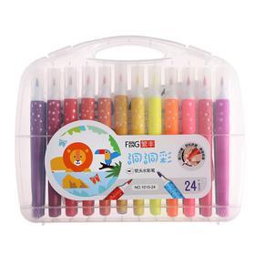 Фломастеры 24 цвета мягкая кисть в пластиковом пенале - фото 7423085