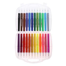 Фломастеры 24 цвета мягкая кисть в пластиковом пенале - фото 7440642