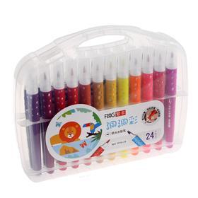 Фломастеры 24 цвета мягкая кисть в пластиковом пенале - фото 7440645
