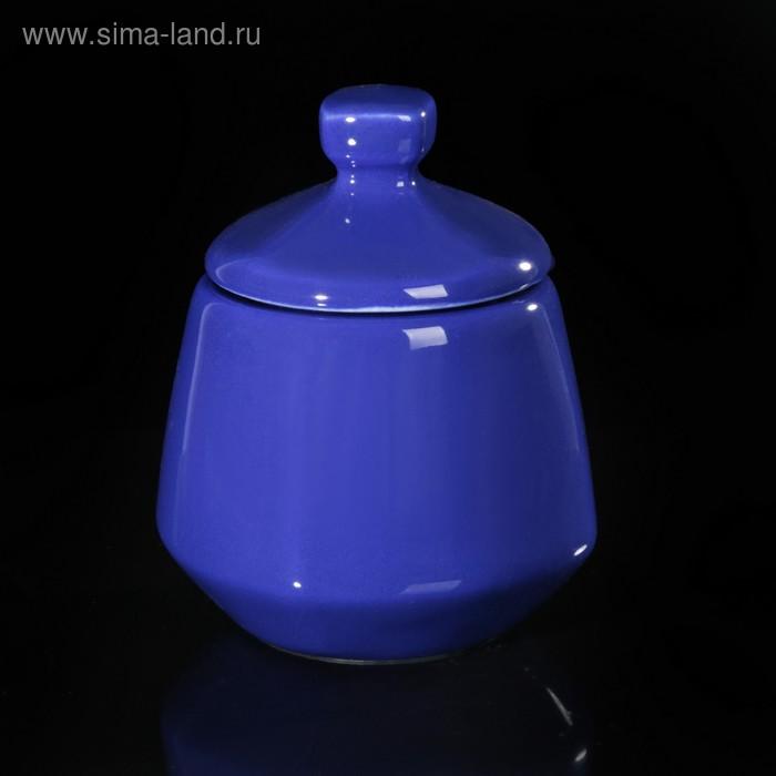Сахарница квадратная 4х4х12 см, цвет синий