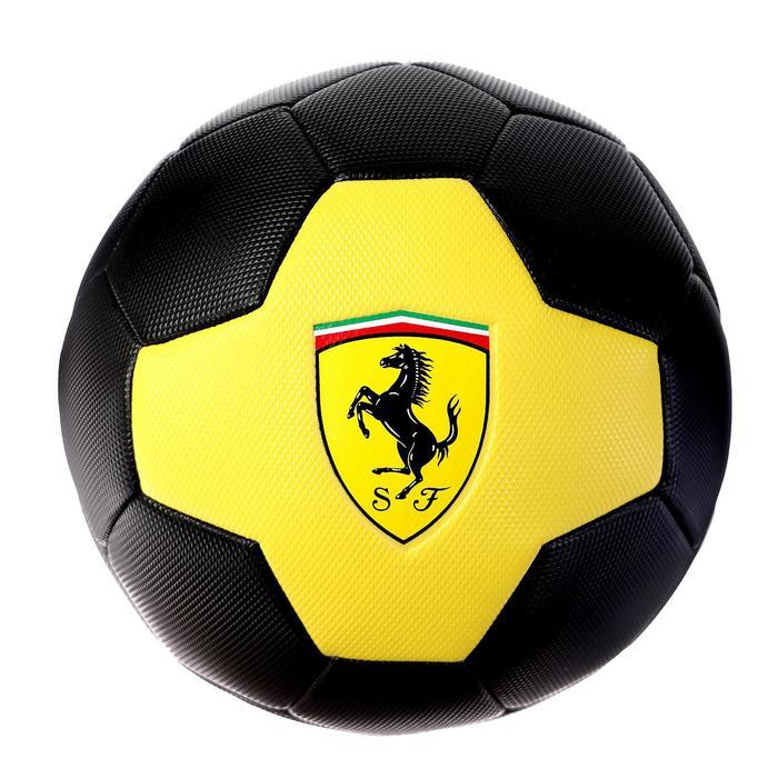 Мяч футбольный FERRARI р.5, PVC, цвет жёлтый/черный - фото 7441678