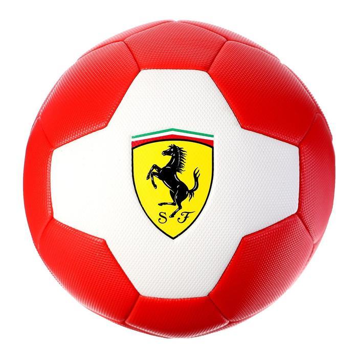 Мяч футбольный FERRARI р.5, PVC, цвет белый/красный - фото 7441681