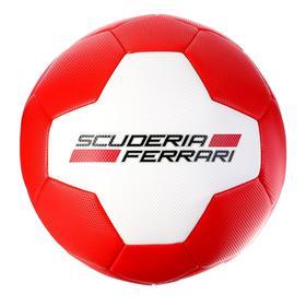 Мяч футбольный FERRARI р.5, PVC, цвет белый/красный - фото 7441682