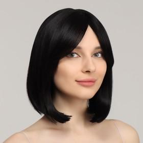 Парик искусственный, с чёлкой, имитация кожи, 30 см, цвет чёрный