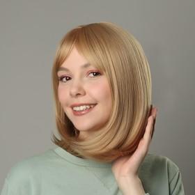 Парик искусственный, с чёлкой, имитация кожи, 30 см, цвет блонд