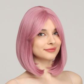 Парик искусственный, с чёлкой, имитация кожи, 30 см, цвет пепельно-розовый