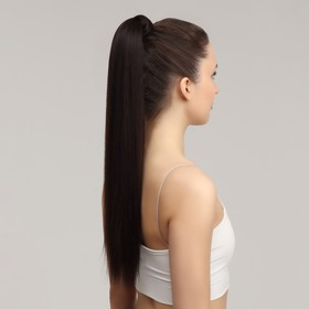 Хвост накладной, прямой волос, на резинке, 60 см, 100 гр, цвет каштановый