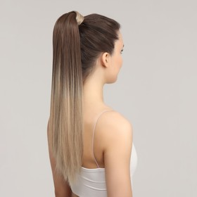 Хвост накладной, прямой волос, на резинке, 60 см, 100 гр, цвет омбре русый/блонд