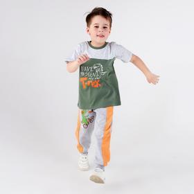 Футболка для мальчика, цвет хаки, рост 116 см