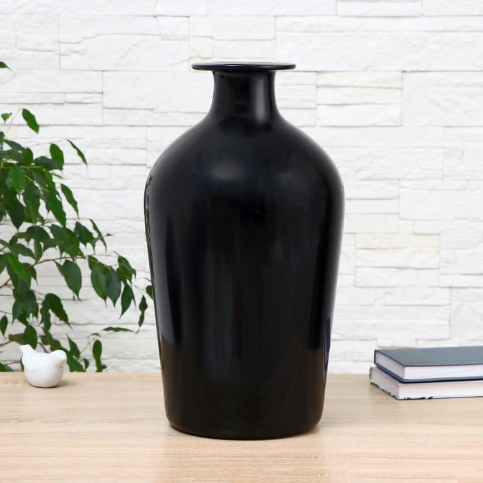 """Ваза """"Черный глянец"""" 45х26 диаметр отверстия 5,6 см - фото 1298873"""