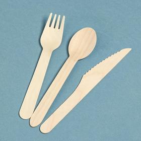 """Набор деревянной эко - посуды """"Вилка, ложка, нож"""""""