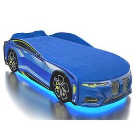 Кровать Romack Boxter-M, подсветка дна и фар, ящик, цветная обшивка матраса, цвет голубой
