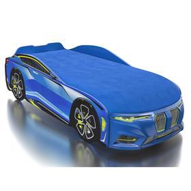 Кровать Romack Boxter-M, ящик, цветная обшивка матраса, цвет голубой