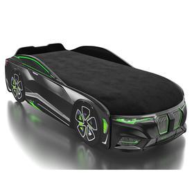 Кровать Romack Boxter-M, подсветка дна и фар, ящик, цветная обшивка матраса, цвет чёрный