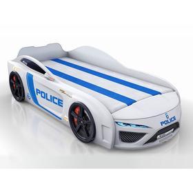 Кровать Romack Dreamer полиция, подсветка дна и фар, объемный капот, цвет белый