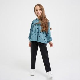 Школьные брюки для девочки, цвет чёрный, рост 122 см