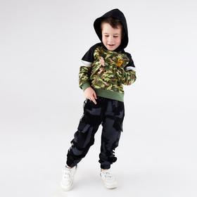 Брюки-джоггеры для мальчика, цвет серый, рост 104 см