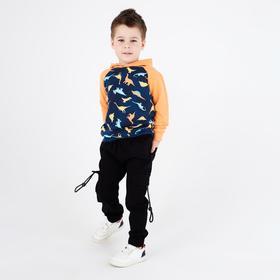 Брюки-джоггеры для мальчика, цвет чёрный, рост 104 см