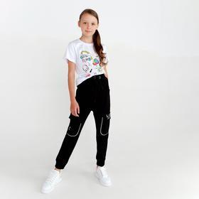 Спортивные брюки для девочки, цвет чёрный, рост 134 см