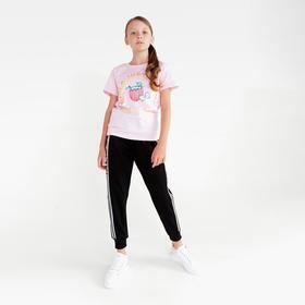 Спортивные брюки для девочки, цвет чёрный, рост 122 см