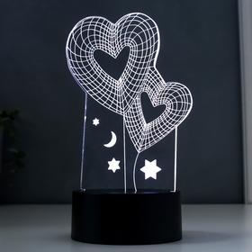 "Светильник ""Сердца"", LED RGB 2Вт, цвет белый от сети 11,8х9,6х20см"