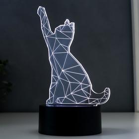 "Светильник ""Котейка"", LED RGB 2Вт, цвет белый от сети 14х9,6х17см"