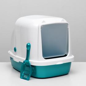 Туалет закрытый «Айша» с совком, 53 × 39 × 40 см, бирюзовый перламутр