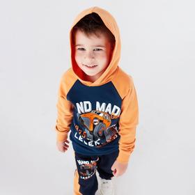 Толстовка для мальчика, цвет оранжевый/индиго, рост 98-104 см (34)