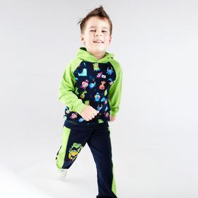 Толстовка для мальчика, цвет зелёный/тёмно-синий, рост 98-104 см (34)