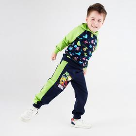 Брюки для мальчика, цвет тёмно-синий/зелёный, рост 98-104 см (34)