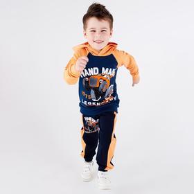 Брюки для мальчика, цвет тёмно-синий/оранжевый, рост 98-104 см (34)