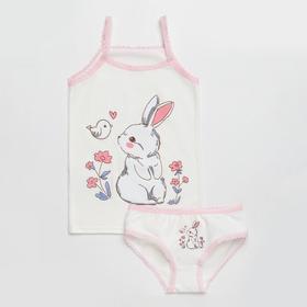 Комплект (майка, трусы) для девочки, цвет молочный/зайки, рост 98-104 см (34)
