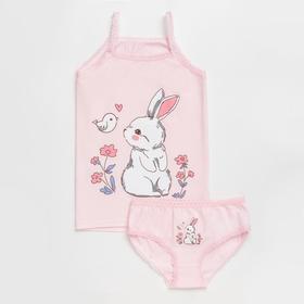 Комплект (майка, трусы) для девочки, цвет розовый/зайки, рост 98-104 см (34)