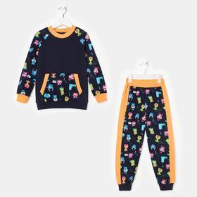 Комплект для мальчика, цвет тёмно-синий/оранжевый, рост 98-104 см (34)