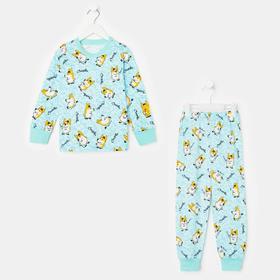 Пижама детская, цвет голубой/оранжевый, рост 98-104 см (34)