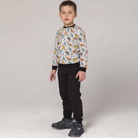Свитшот для мальчика, цвет чёрный/серый, рост 98-104 см (34)