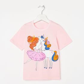 Футболка для девочки, цвет светло-розовый, рост 92-98 см (32)