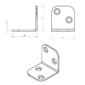 Уголок мебельный TUNDRA 28х28х1.5 мм, цинк, в упаковке 1 шт. - фото 7518823