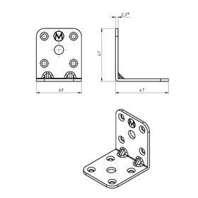 Уголок мебельный TUNDRA, 47х47х40х2.3 мм, цинк, в упаковке 1 шт. - фото 7518824