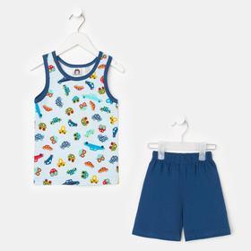 Комплект (майка, шорты) для мальчика, цвет голубой/синий, рост 86 см